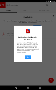 screenshot of Acrobat Reader for Intune version Varies with device
