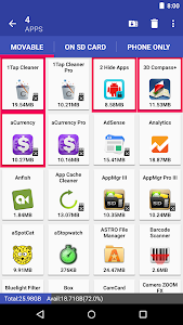 screenshot of AppMgr III (App 2 SD, Hide and Freeze apps) version 4.73