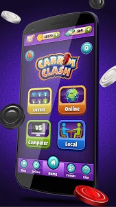 screenshot of Carrom Clash Realtime Multiplayer Free Board Game version 1.22