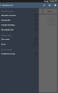 screenshot of ClevNote - Notepad, Checklist version 2.19.0