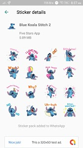 screenshot of Cute Blue Koala Stitch Stickers for WhatsApp version 2.1