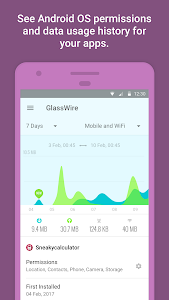 screenshot of GlassWire Data Usage Monitor version Varies with device