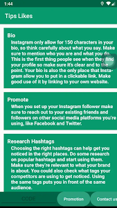 screenshot of Likes & Followers with Tips version 1.25