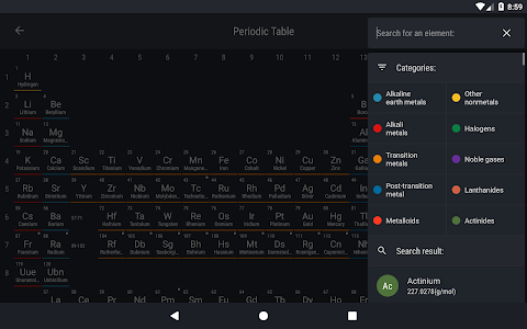 screenshot of Periodic Table 2018 version 0.1.64