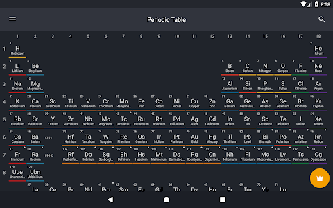 screenshot of Periodic Table 2018 version 0.1.60