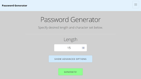 screenshot of Random Password Generator version 1.0