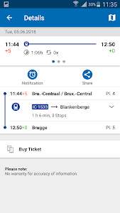 screenshot of SNCB National: train timetable/tickets in Belgium version 4.5.0 (32)