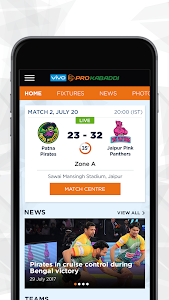 screenshot of VIVO Pro Kabaddi version 1.24