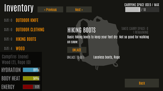 screenshot of Survive - Wilderness survival version Varies with device
