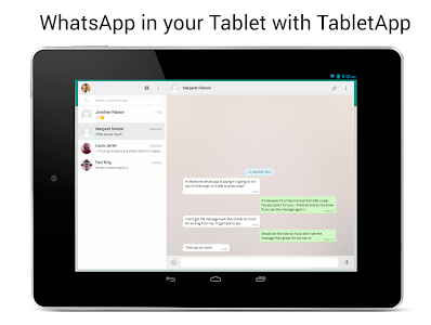 screenshot of TabletApp for WhatsApp version 2.2
