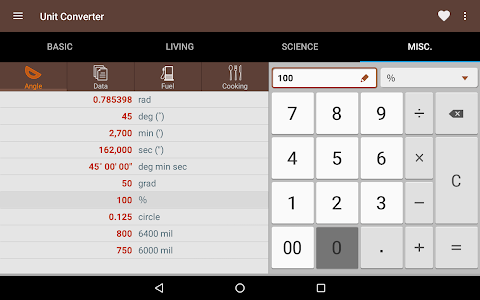 screenshot of Unit Converter version 1.5.4