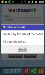 screenshot of Word search version 2.3c