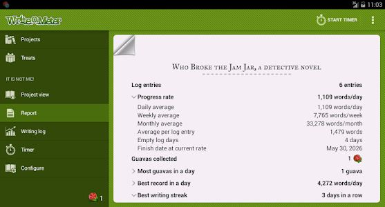 screenshot of Writeometer version Varies with device