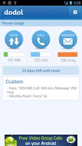 screenshot of dodol Phone (data, call, Text) version 3.0.55